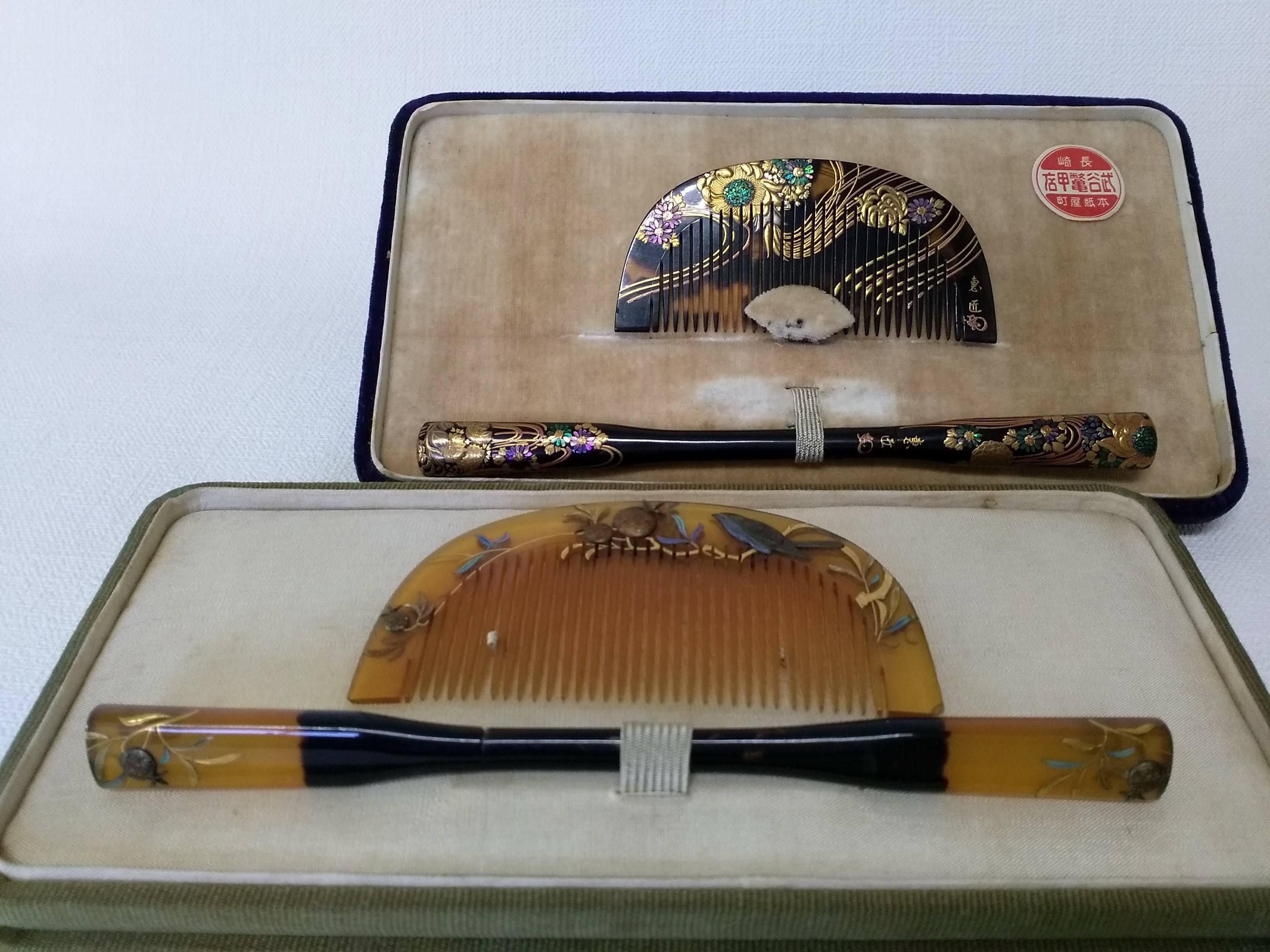 蒔絵の施されたべっ甲の簪(かんざし)・櫛(くし)の買取写真