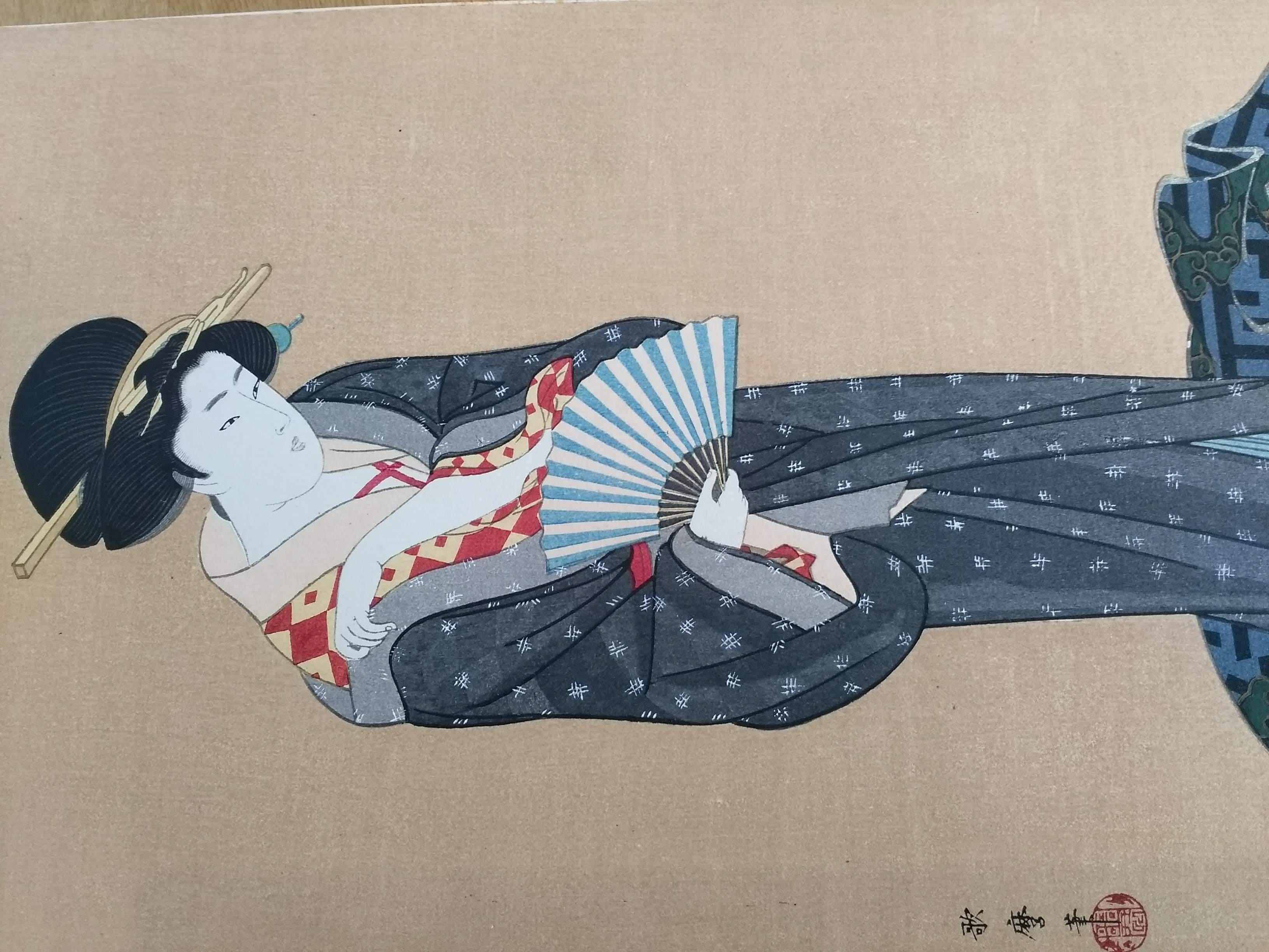 喜多川歌麿の「扉を使ふ美人立ち姿」